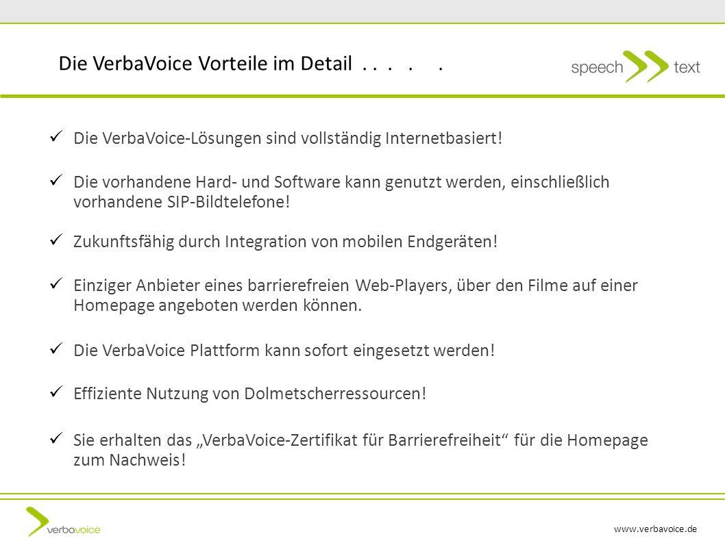 www.verbavoice.de Die VerbaVoice Vorteile im Detail..... Die VerbaVoice-Lösungen sind vollständig Internetbasiert! Zukunftsfähig durch Integration von