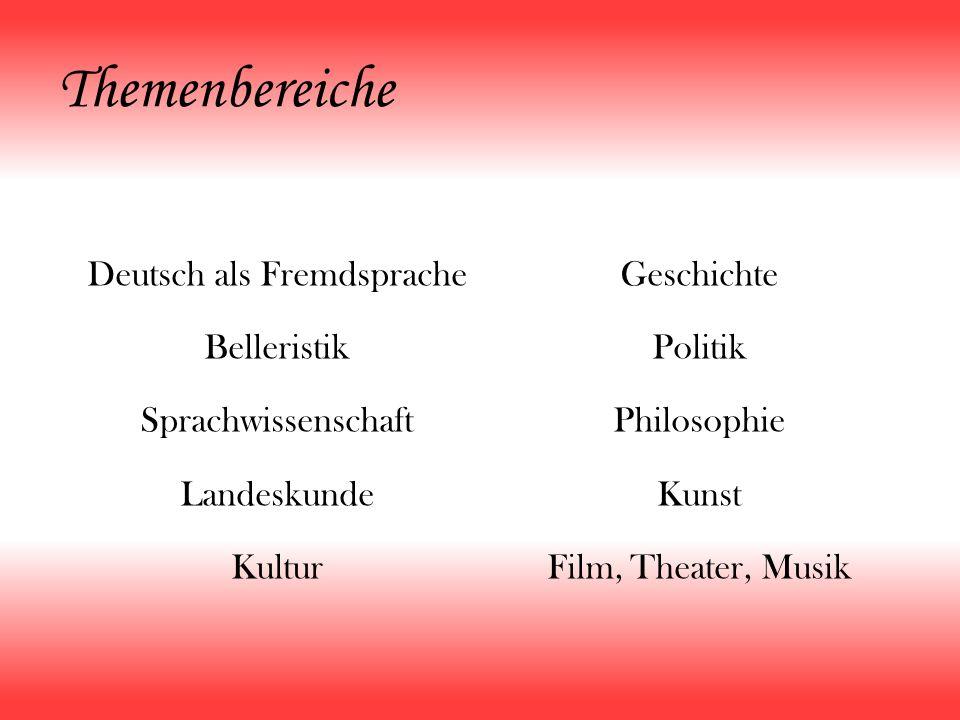 Themenbereiche Deutsch als Fremdsprache Belleristik Sprachwissenschaft Landeskunde Kultur Geschichte Politik Philosophie Kunst Film, Theater, Musik