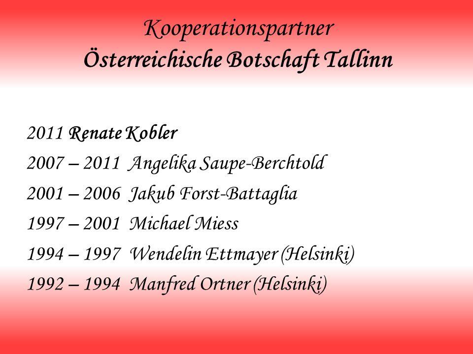 Kooperationspartner Österreichische Botschaft Tallinn 2011 Renate Kobler 2007 – 2011 Angelika Saupe-Berchtold 2001 – 2006 Jakub Forst-Battaglia 1997 –