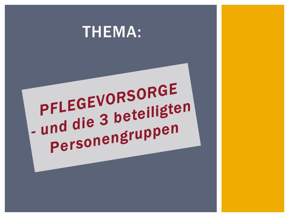 THEMA: PFLEGEVORSORGE - und die 3 beteiligten Personengruppen