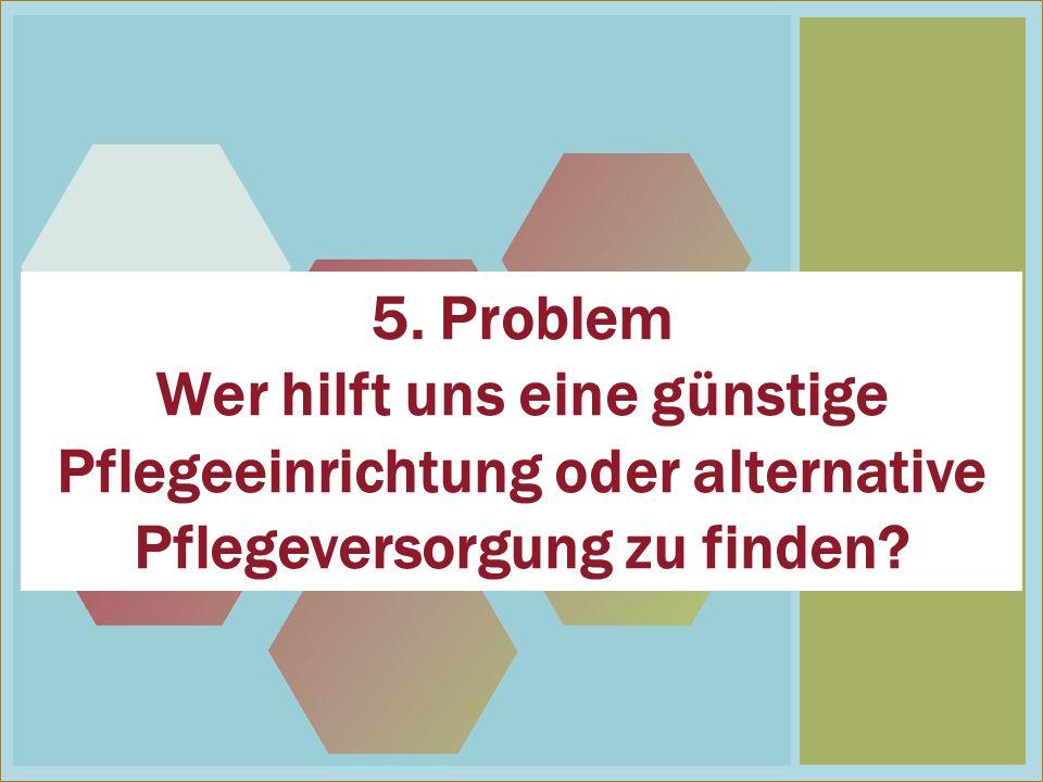 5 5. Problem Wer hilft uns eine günstige Pflegeeinrichtung oder alternative Pflegeversorgung zu finden?