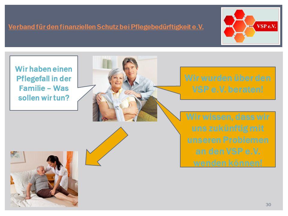 30 Wir haben einen Pflegefall in der Familie – Was sollen wir tun? Wir wissen, dass wir uns zukünftig mit unseren Problemen an den VSP e.V. wenden kön