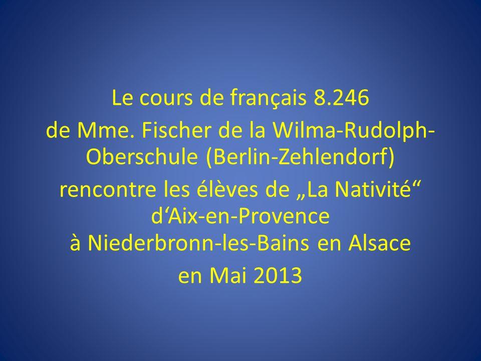 Der Französischkurs 8.246 von Frau Fischer aus der Wilma-Rudolph-Oberschule in Berlin-Zehlendorf trifft sich im Mai 2013 mit einer Schulklasse aus Aix-en-Provence in Niederbronn-les-Bains im Elsass