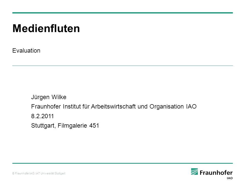 © Fraunhofer IAO, IAT Universität Stuttgart Mir ist richtig klar geworden… Ergebnisse: Wirkung von Medienfluten, alle (3) Wirkungsebene 2: Erkennen: hier: persönlicher Medienkonsum, Bewertung von Medien C 68,9 %