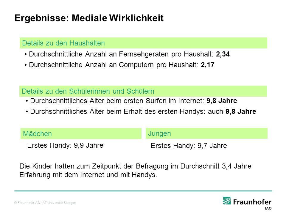 © Fraunhofer IAO, IAT Universität Stuttgart Durchschnittliche Anzahl an Fernsehgeräten pro Haushalt: 2,34 Durchschnittliche Anzahl an Computern pro Haushalt: 2,17 Details zu den Haushalten Details zu den Schülerinnen und Schülern Durchschnittliches Alter beim ersten Surfen im Internet: 9,8 Jahre Durchschnittliches Alter beim Erhalt des ersten Handys: auch 9,8 Jahre Jungen Mädchen Erstes Handy: 9,9 Jahre Erstes Handy: 9,7 Jahre Ergebnisse: Mediale Wirklichkeit Die Kinder hatten zum Zeitpunkt der Befragung im Durchschnitt 3,4 Jahre Erfahrung mit dem Internet und mit Handys.