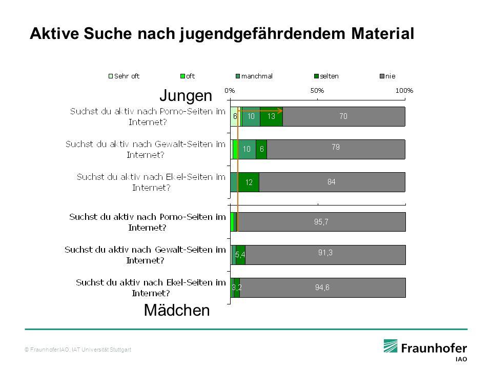 © Fraunhofer IAO, IAT Universität Stuttgart Jungen Mädchen Aktive Suche nach jugendgefährdendem Material