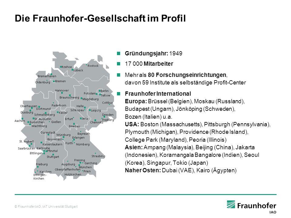 © Fraunhofer IAO, IAT Universität Stuttgart IAO und IAT im Profil www.iao.fraunhofer.de – www.iat.uni-stuttgart.de Gründungsjahr:IAO– 1981 IAT– 1991 Institutsleiter:Prof.