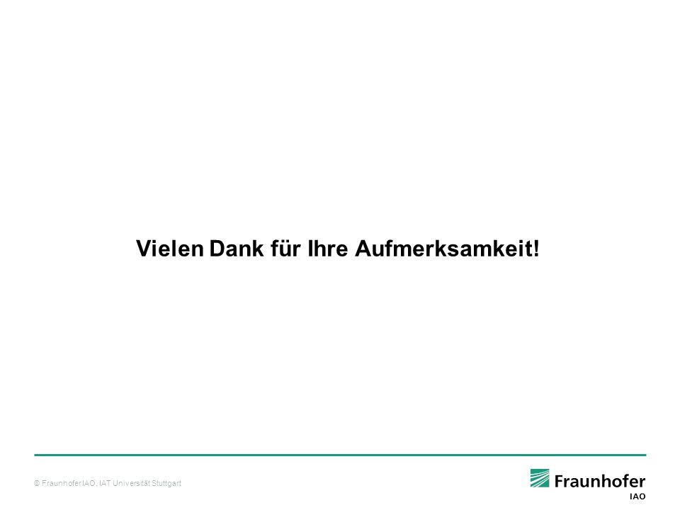 © Fraunhofer IAO, IAT Universität Stuttgart Vielen Dank für Ihre Aufmerksamkeit!