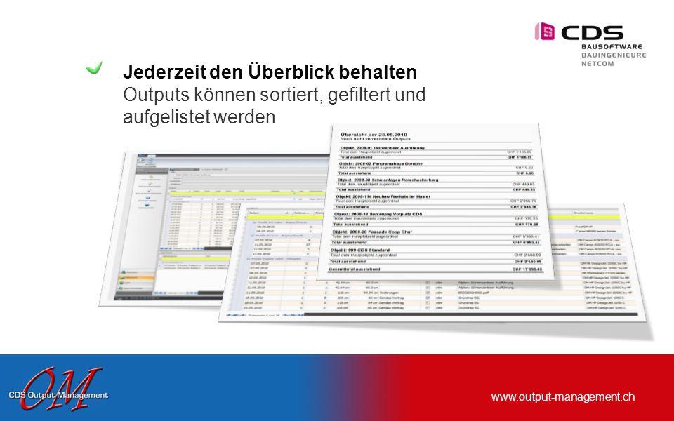 www.output-management.ch Schnittstelle zu untermStrich… Daten werden direkt ins Register Nebenkosten geschrieben
