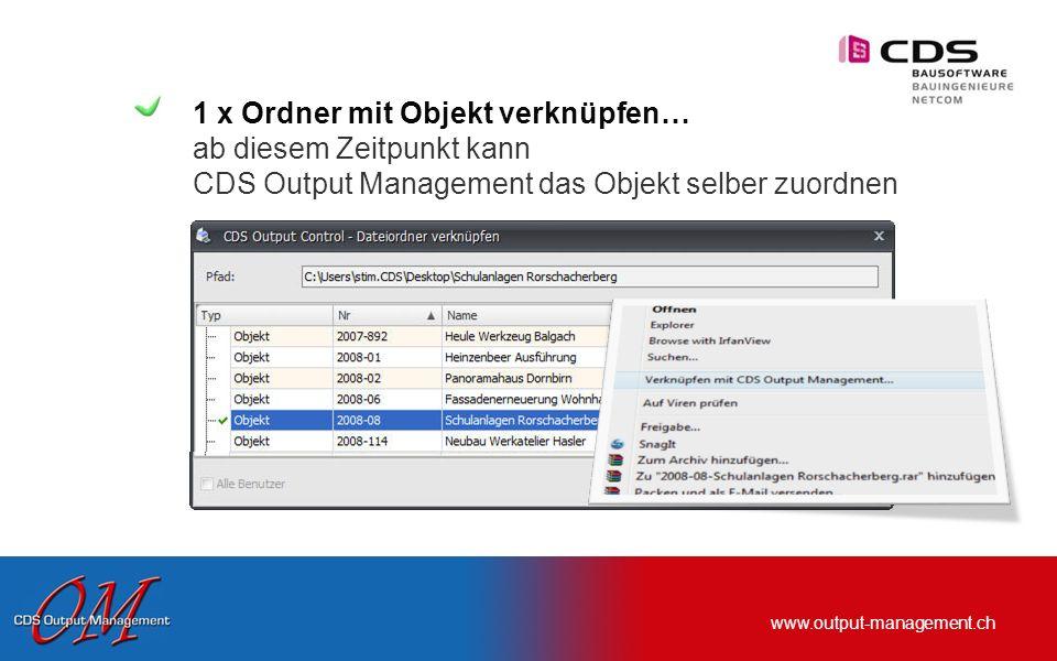 www.output-management.ch Individuell verwendbar … die Funktion Erfassung im Hintergrund …