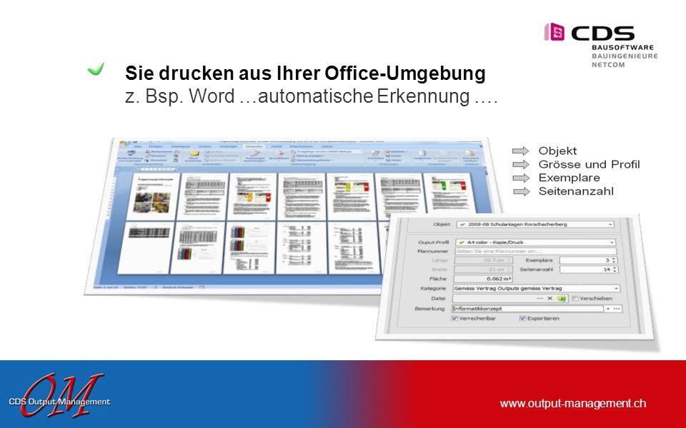 www.output-management.ch 1 x Ordner mit Objekt verknüpfen… ab diesem Zeitpunkt kann CDS Output Management das Objekt selber zuordnen