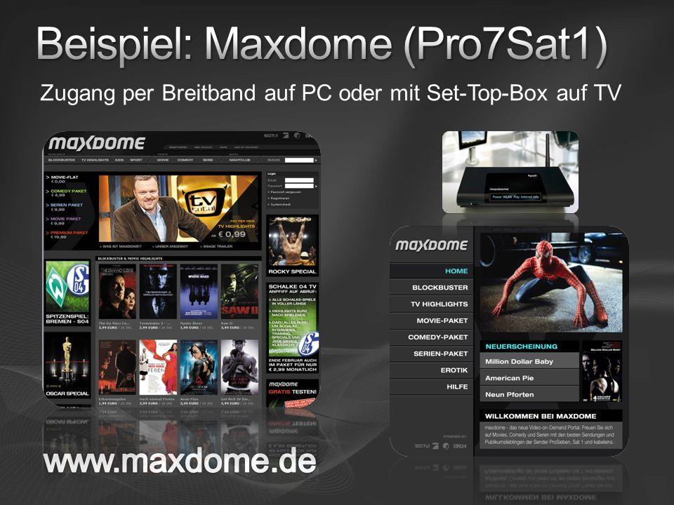 Zugang per Breitband auf PC oder mit Set-Top-Box auf TV
