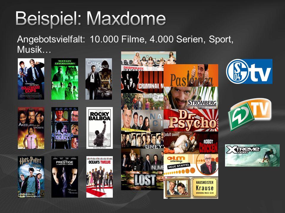 Angebotsvielfalt: 10.000 Filme, 4.000 Serien, Sport, Musik…