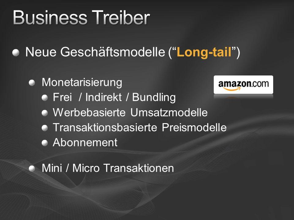 Neue Geschäftsmodelle (Long-tail) Monetarisierung Frei / Indirekt / Bundling Werbebasierte Umsatzmodelle Transaktionsbasierte Preismodelle Abonnement