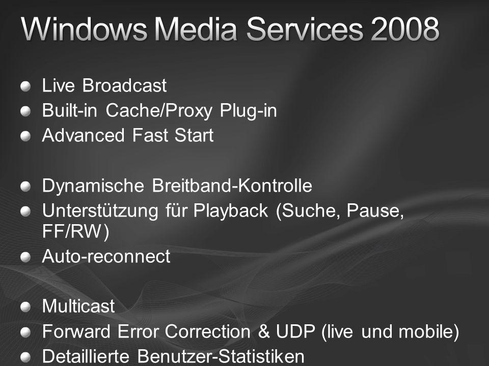 Live Broadcast Built-in Cache/Proxy Plug-in Advanced Fast Start Dynamische Breitband-Kontrolle Unterstützung für Playback (Suche, Pause, FF/RW) Auto-r