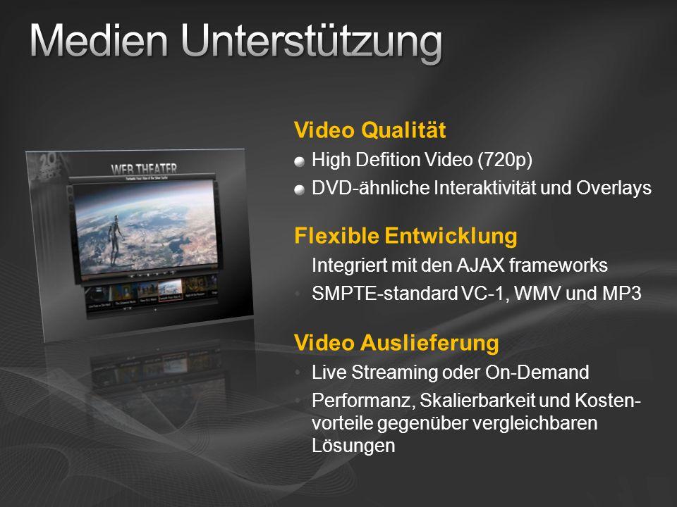 Video Qualität High Defition Video (720p) DVD-ähnliche Interaktivität und Overlays Flexible Entwicklung Integriert mit den AJAX frameworks SMPTE-stand