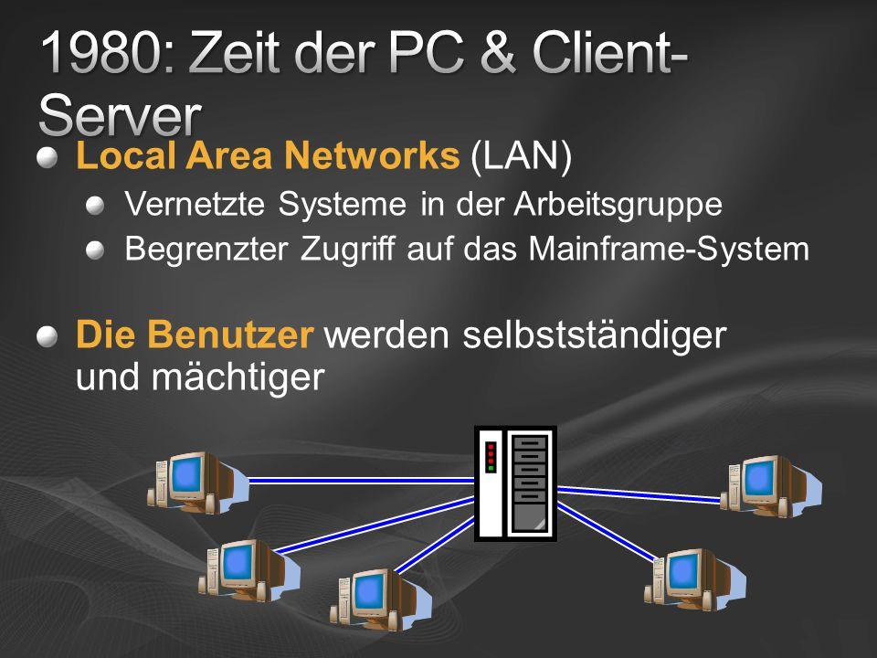 Local Area Networks (LAN) Vernetzte Systeme in der Arbeitsgruppe Begrenzter Zugriff auf das Mainframe-System Die Benutzer werden selbstständiger und m