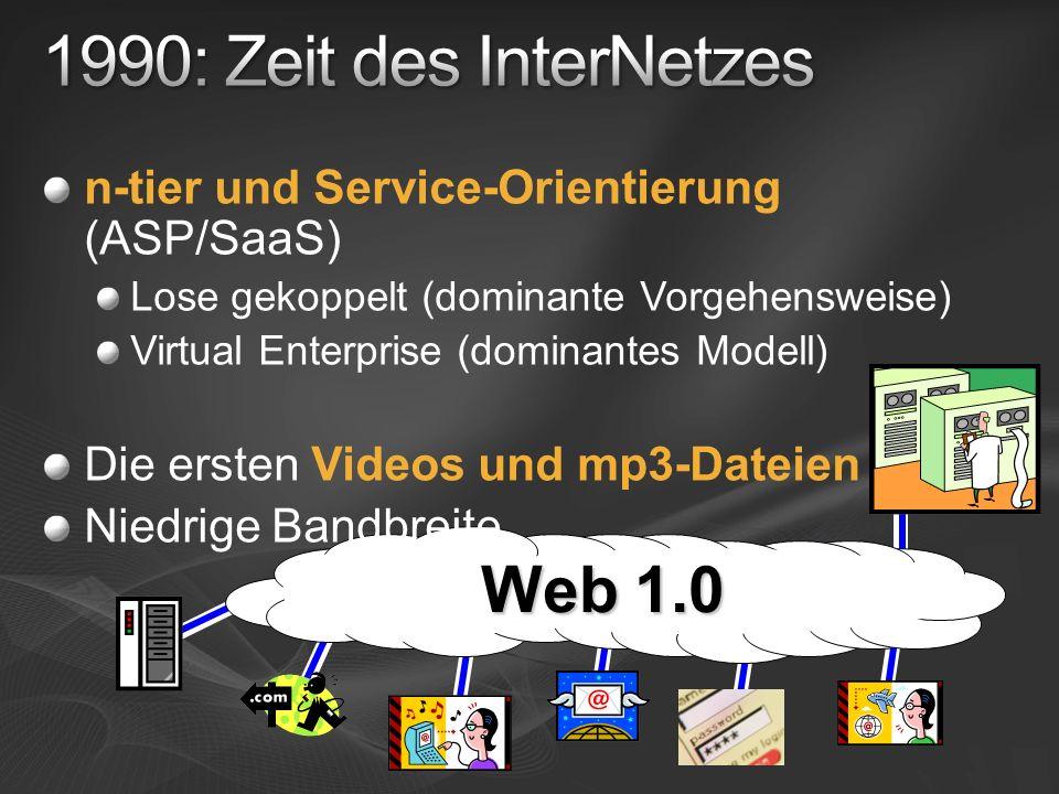 Web 1.0 n-tier und Service-Orientierung (ASP/SaaS) Lose gekoppelt (dominante Vorgehensweise) Virtual Enterprise (dominantes Modell) Die ersten Videos
