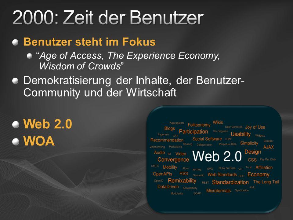 Benutzer steht im Fokus Age of Access, The Experience Economy, Wisdom of Crowds Demokratisierung der Inhalte, der Benutzer- Community und der Wirtscha