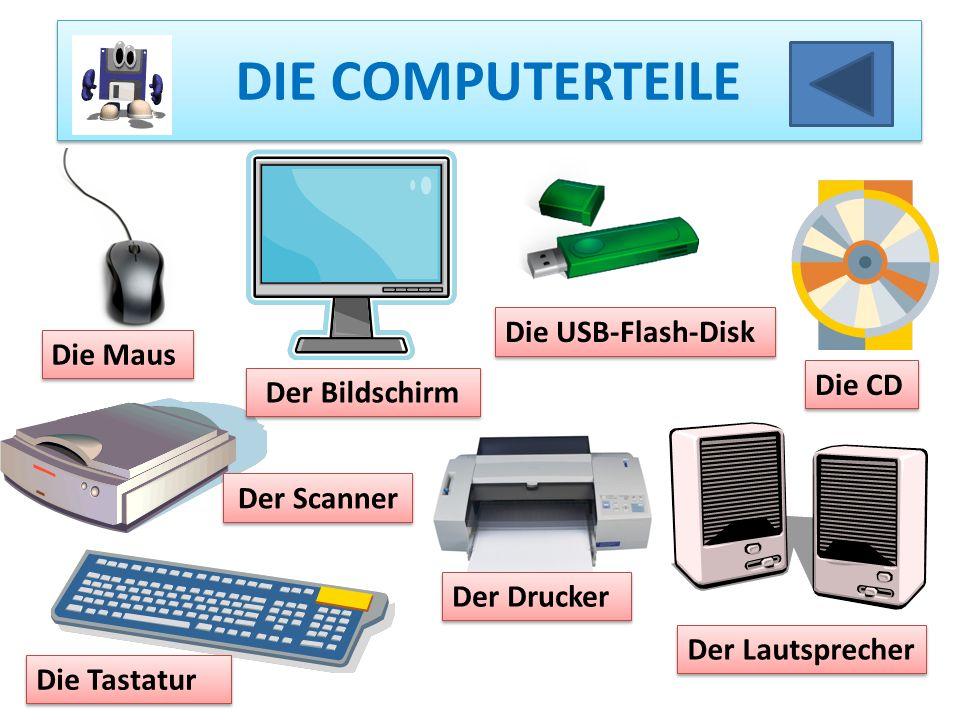 DIE COMPUTERTEILE Die Maus Der Bildschirm Die USB-Flash-Disk Die CD Der Lautsprecher Der Scanner Der Drucker Die Tastatur