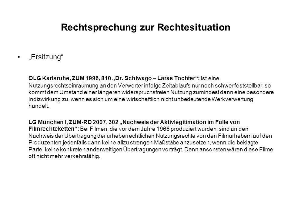 Rechtsprechung zur Rechtesituation Propagandafilme LG München I, ZUM 1993, 370 - Videorechte an NS-Propagandafilmen: Die Rechtsübertragung von anonymen Urhebern die nicht im Vorspann genannt werden, ist auch für unbekannte Nutzungsarten erfolgt.