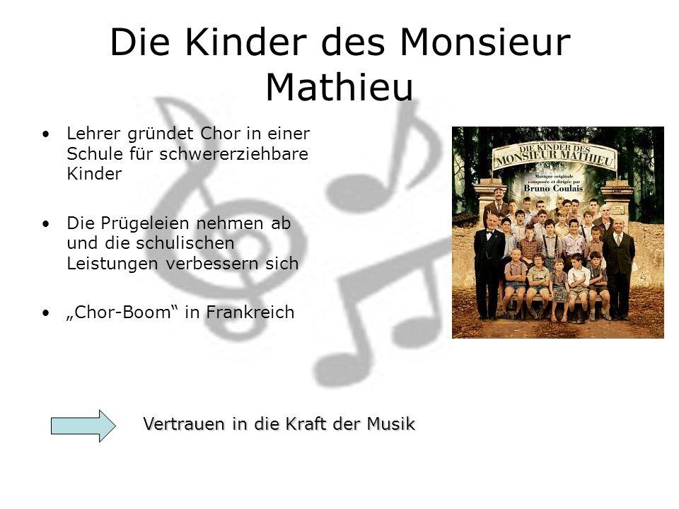 Die Kinder des Monsieur Mathieu Lehrer gründet Chor in einer Schule für schwererziehbare Kinder Die Prügeleien nehmen ab und die schulischen Leistungen verbessern sich Chor-Boom in Frankreich Vertrauen in die Kraft der Musik