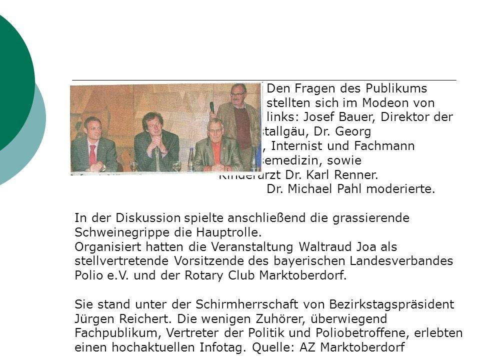 Den Fragen des Publikums stellten sich im Modeon von links: Josef Bauer, Direktor der AOK Ostallgäu, Dr.