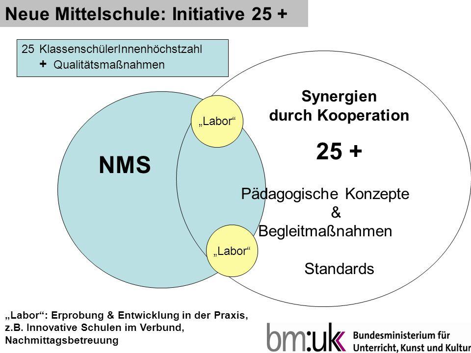 Neue Mittelschule: Initiative 25 + Synergien durch Kooperation 25 + Pädagogische Konzepte & Begleitmaßnahmen Standards NMS Labor Labor: Erprobung & Entwicklung in der Praxis, z.B.
