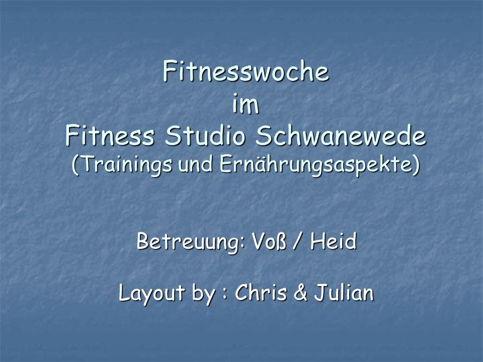 Fitnesswoche im Fitness Studio Schwanewede (Trainings und Ernährungsaspekte) Betreuung: Voß / Heid Layout by : Chris & Julian