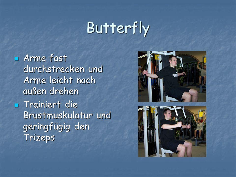 Butterfly Arme fast durchstrecken und Arme leicht nach außen drehen Arme fast durchstrecken und Arme leicht nach außen drehen Trainiert die Brustmusku