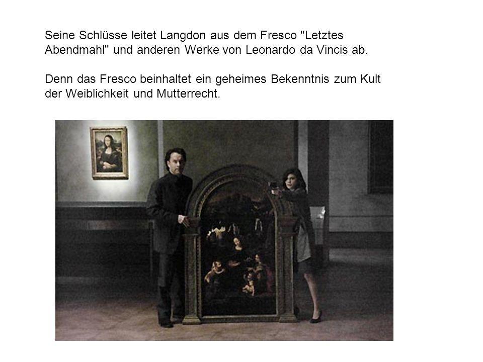 Langdon und Neveu stoßen auf viele ungeklärte Rätsel, eine geheime Bruderschaft und die Frage, wer auf da Vincis Gemälde tatsächlich neben dem Heiland sitzt.