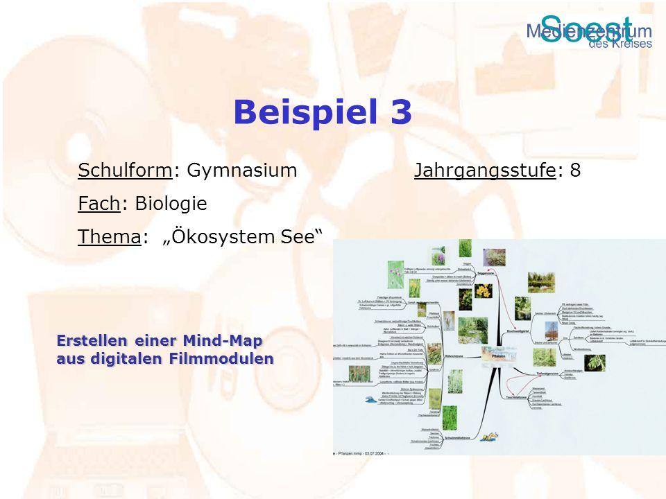 Beispiel 3 Schulform: Gymnasium Jahrgangsstufe: 8 Fach: Biologie Thema: Ökosystem See Erstellen einer Mind-Map aus digitalen Filmmodulen