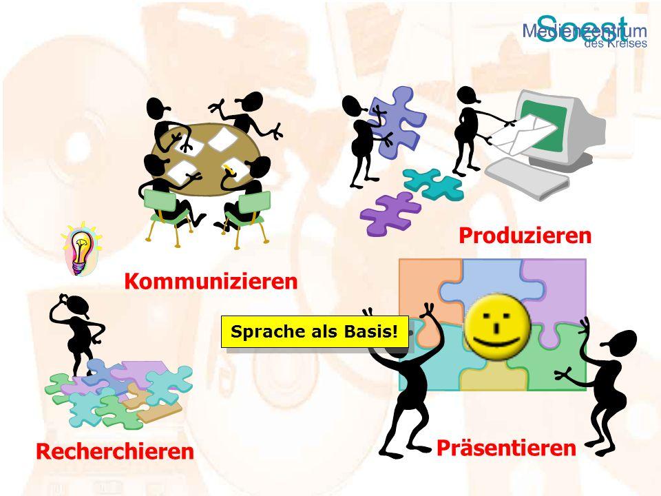 Recherchieren Präsentieren Produzieren Kommunizieren Sprache als Basis!