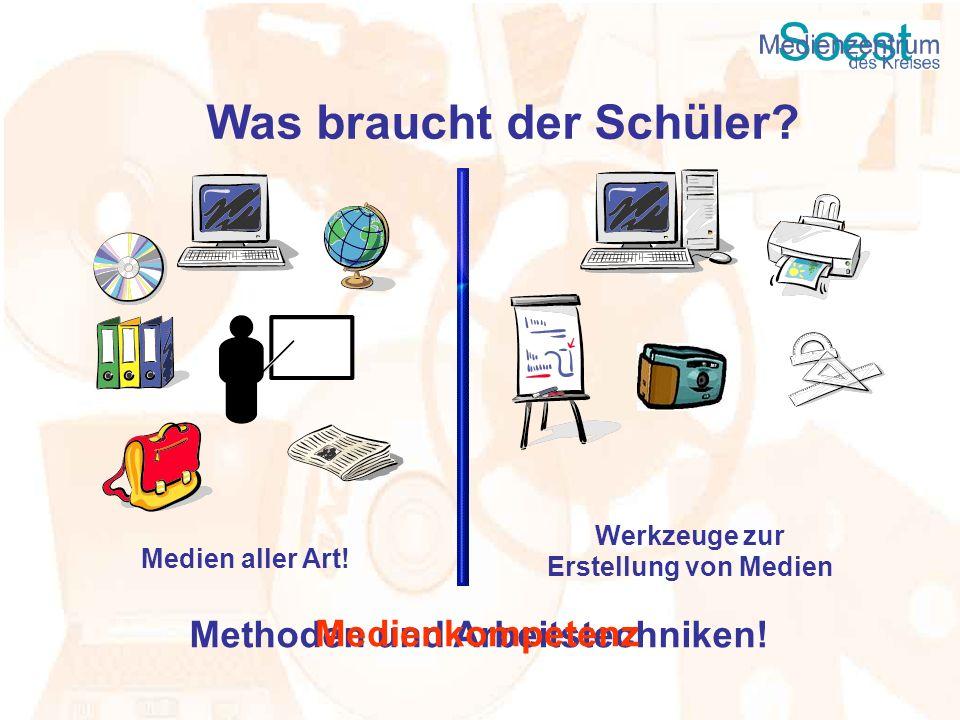 Was braucht der Schüler? Medien aller Art! Werkzeuge zur Erstellung von Medien Methoden und Arbeitstechniken! Medienkompetenz