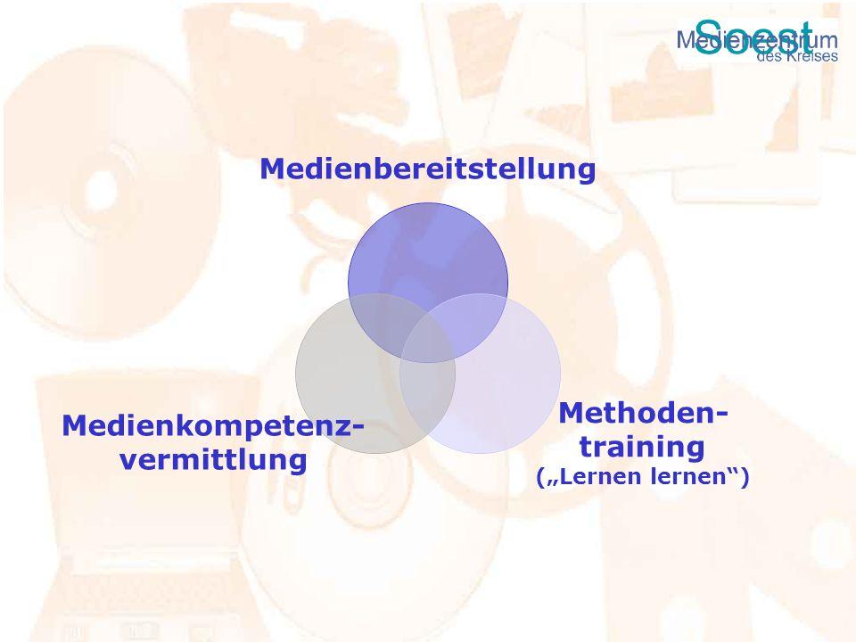 Medienbereitstellung Methoden- training (Lernen lernen) Medienkompetenz- vermittlung