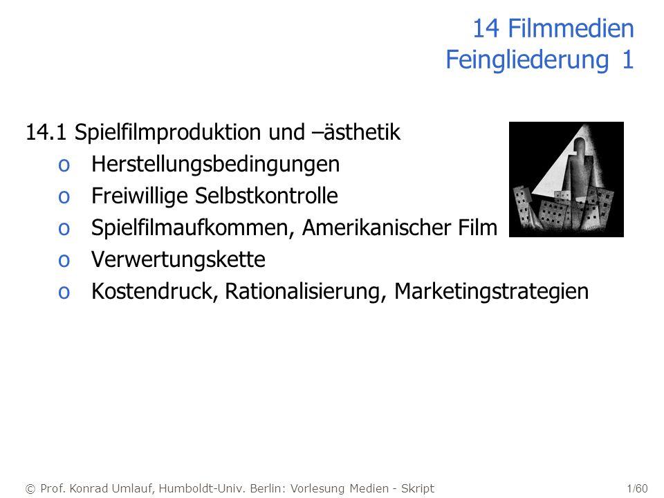 © Prof. Konrad Umlauf, Humboldt-Univ. Berlin: Vorlesung Medien - Skript 1/60 14 Filmmedien Feingliederung 1 14.1 Spielfilmproduktion und –ästhetik oHe