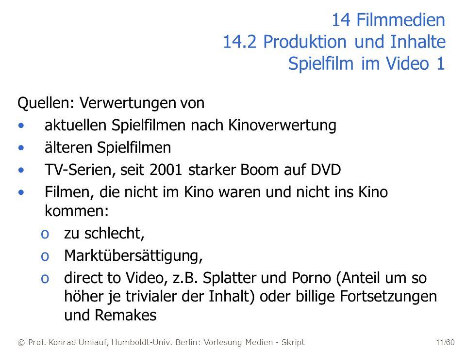 © Prof. Konrad Umlauf, Humboldt-Univ. Berlin: Vorlesung Medien - Skript 11/60 14 Filmmedien 14.2 Produktion und Inhalte Spielfilm im Video 1 Quellen: