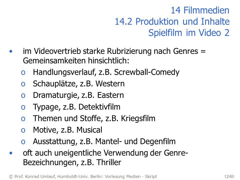 © Prof. Konrad Umlauf, Humboldt-Univ. Berlin: Vorlesung Medien - Skript 12/60 14 Filmmedien 14.2 Produktion und Inhalte Spielfilm im Video 2 im Videov