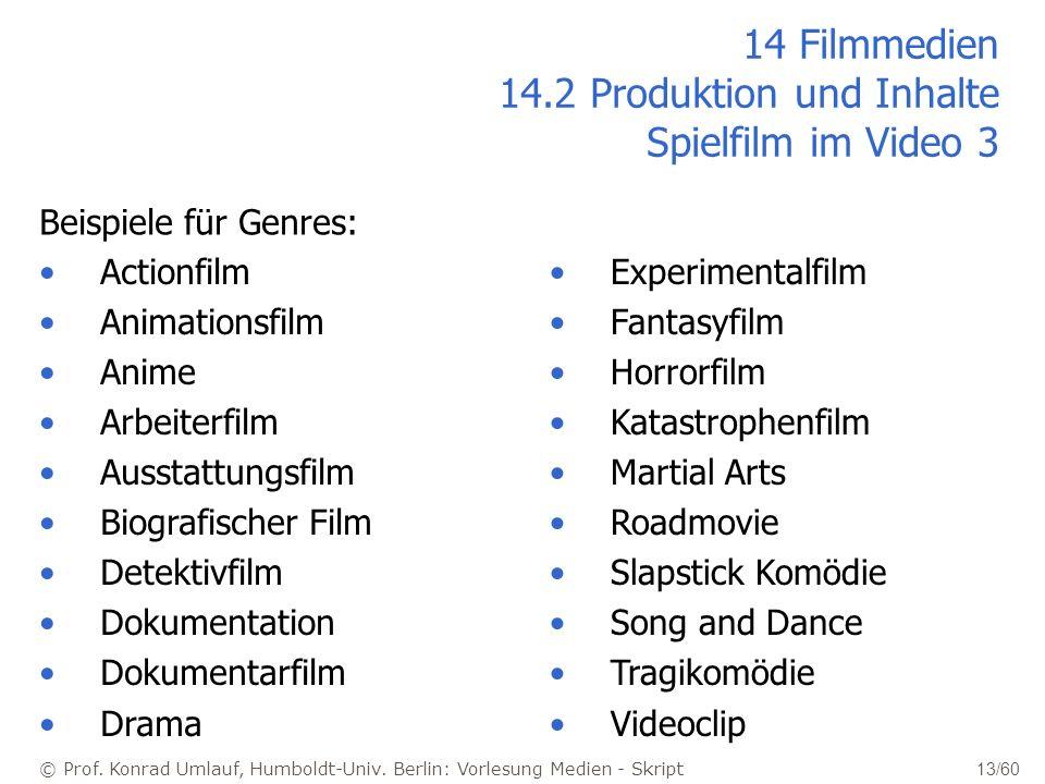 © Prof. Konrad Umlauf, Humboldt-Univ. Berlin: Vorlesung Medien - Skript 13/60 14 Filmmedien 14.2 Produktion und Inhalte Spielfilm im Video 3 Beispiele