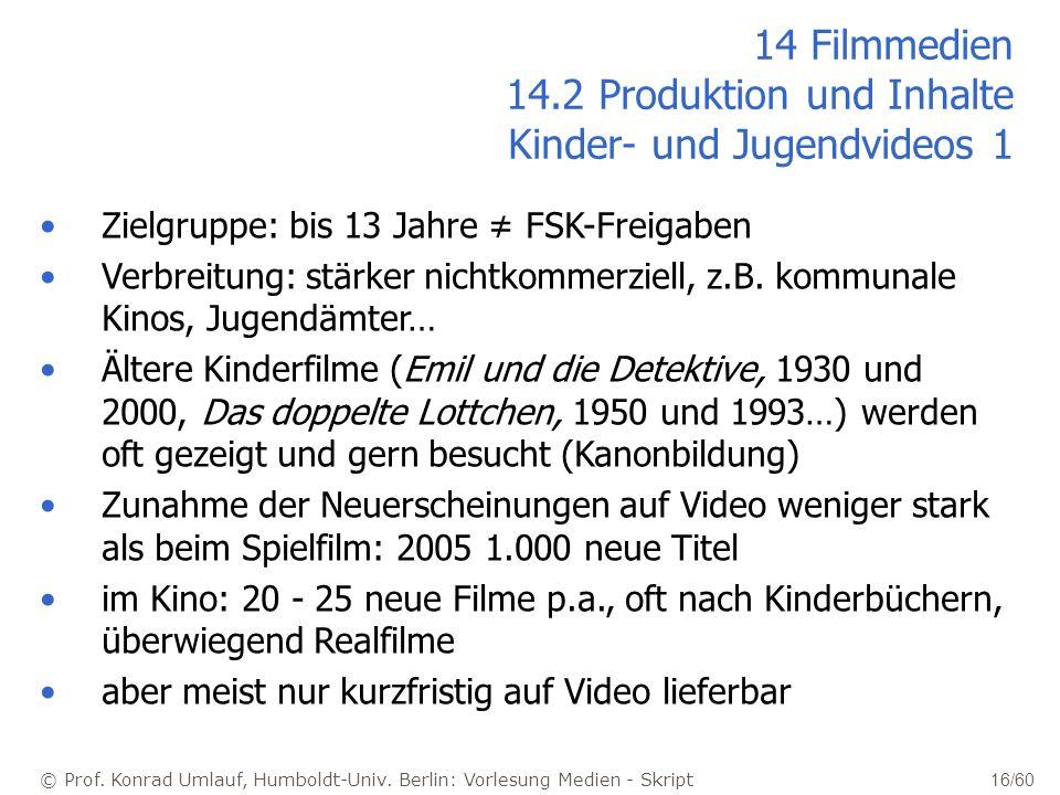© Prof. Konrad Umlauf, Humboldt-Univ. Berlin: Vorlesung Medien - Skript 16/60 14 Filmmedien 14.2 Produktion und Inhalte Kinder- und Jugendvideos 1 Zie