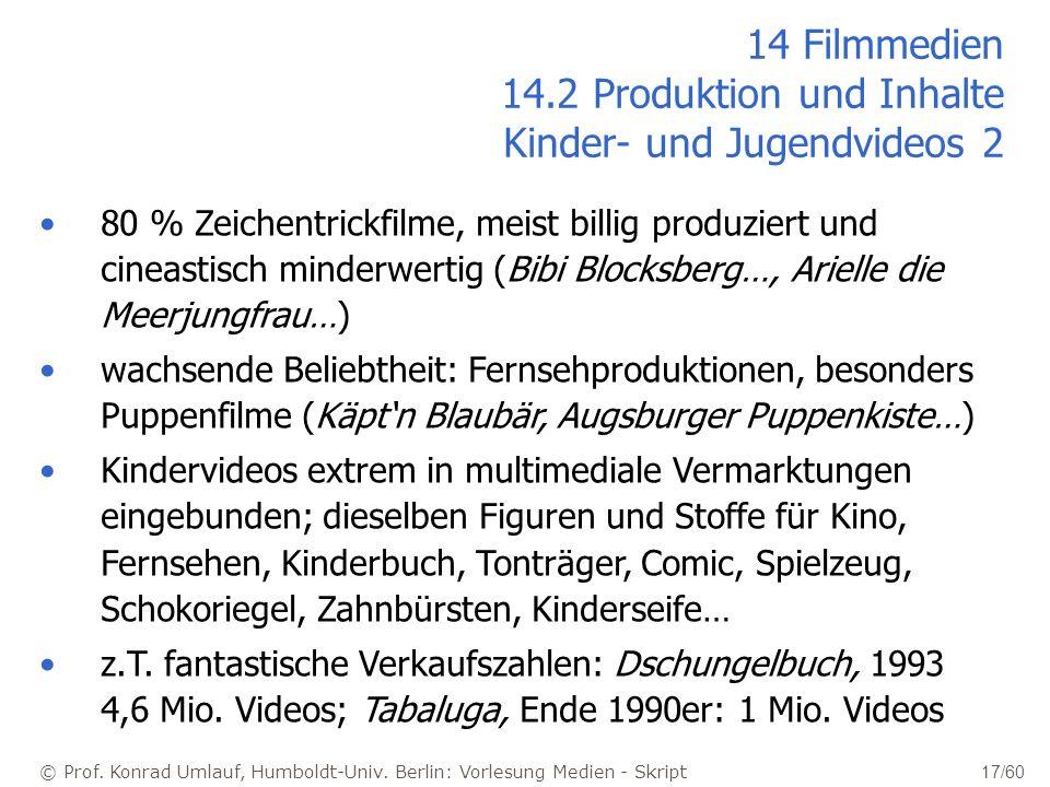 © Prof. Konrad Umlauf, Humboldt-Univ. Berlin: Vorlesung Medien - Skript 17/60 14 Filmmedien 14.2 Produktion und Inhalte Kinder- und Jugendvideos 2 80