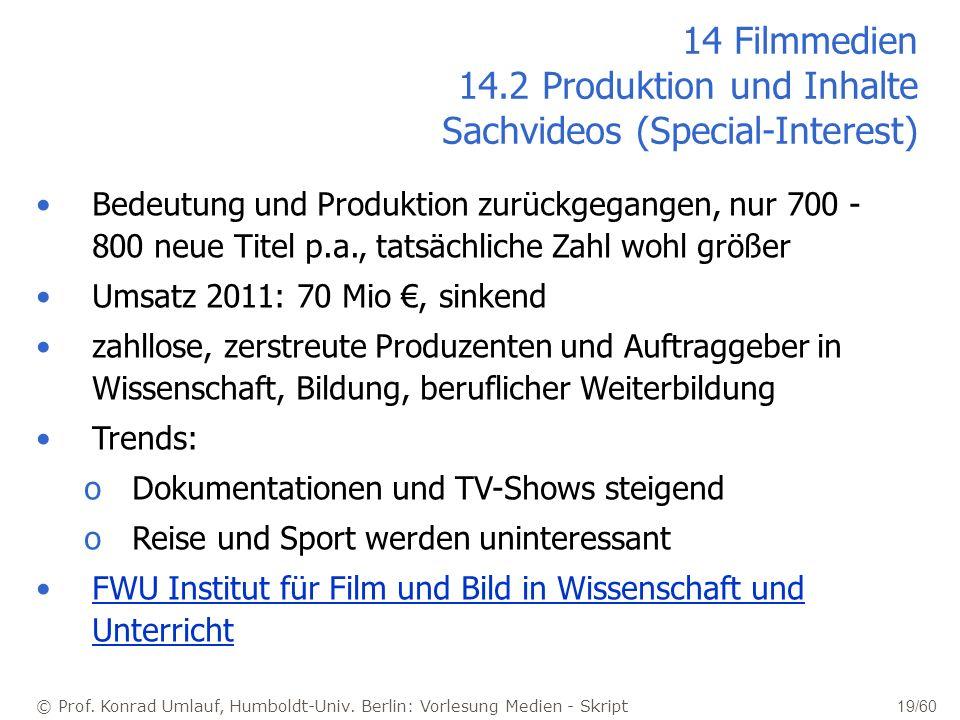 © Prof. Konrad Umlauf, Humboldt-Univ. Berlin: Vorlesung Medien - Skript 19/60 14 Filmmedien 14.2 Produktion und Inhalte Sachvideos (Special-Interest)