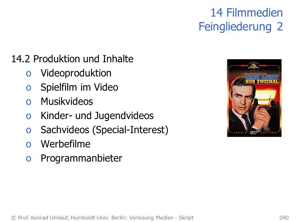 © Prof. Konrad Umlauf, Humboldt-Univ. Berlin: Vorlesung Medien - Skript 2/60 14 Filmmedien Feingliederung 2 14.2 Produktion und Inhalte oVideoprodukti
