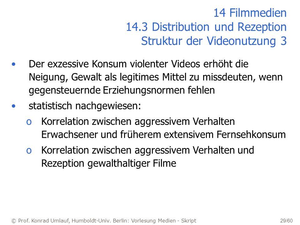 © Prof. Konrad Umlauf, Humboldt-Univ. Berlin: Vorlesung Medien - Skript 29/60 14 Filmmedien 14.3 Distribution und Rezeption Struktur der Videonutzung