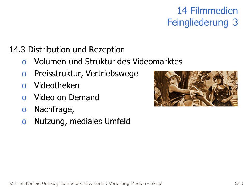© Prof. Konrad Umlauf, Humboldt-Univ. Berlin: Vorlesung Medien - Skript 3/60 14 Filmmedien Feingliederung 3 14.3 Distribution und Rezeption oVolumen u