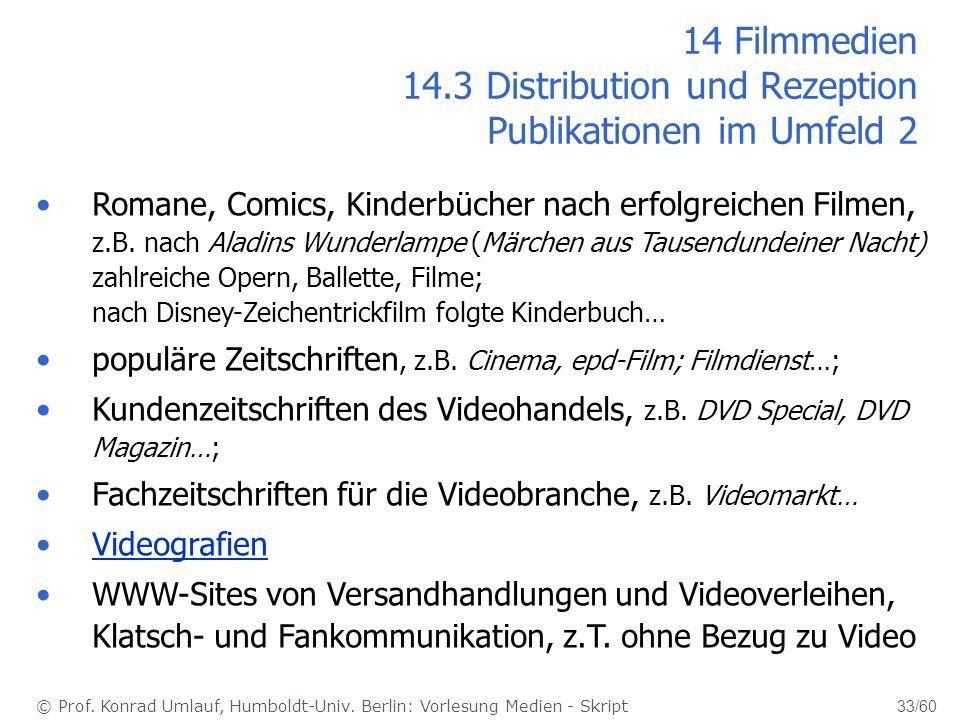 © Prof. Konrad Umlauf, Humboldt-Univ. Berlin: Vorlesung Medien - Skript 33/60 14 Filmmedien 14.3 Distribution und Rezeption Publikationen im Umfeld 2