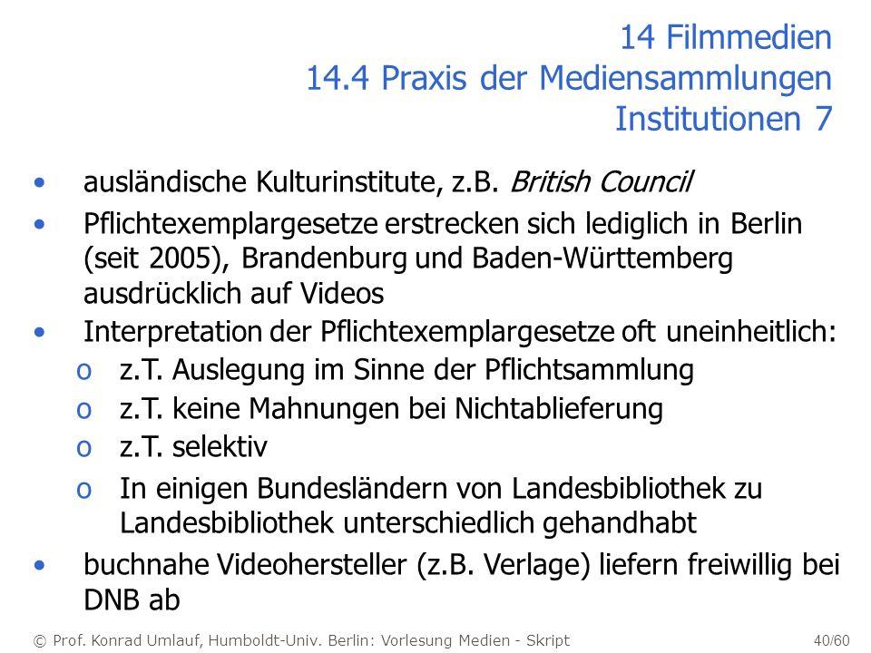 © Prof. Konrad Umlauf, Humboldt-Univ. Berlin: Vorlesung Medien - Skript 40/60 14 Filmmedien 14.4 Praxis der Mediensammlungen Institutionen 7 ausländis