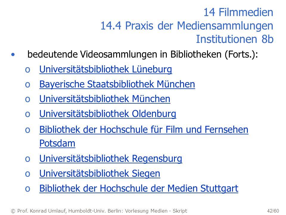 © Prof. Konrad Umlauf, Humboldt-Univ. Berlin: Vorlesung Medien - Skript 42/60 14 Filmmedien 14.4 Praxis der Mediensammlungen Institutionen 8b bedeuten