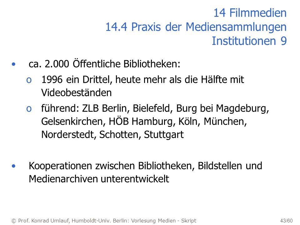 © Prof. Konrad Umlauf, Humboldt-Univ. Berlin: Vorlesung Medien - Skript 43/60 14 Filmmedien 14.4 Praxis der Mediensammlungen Institutionen 9 ca. 2.000