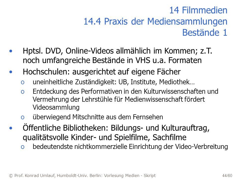 © Prof. Konrad Umlauf, Humboldt-Univ. Berlin: Vorlesung Medien - Skript 44/60 14 Filmmedien 14.4 Praxis der Mediensammlungen Bestände 1 Hptsl. DVD, On